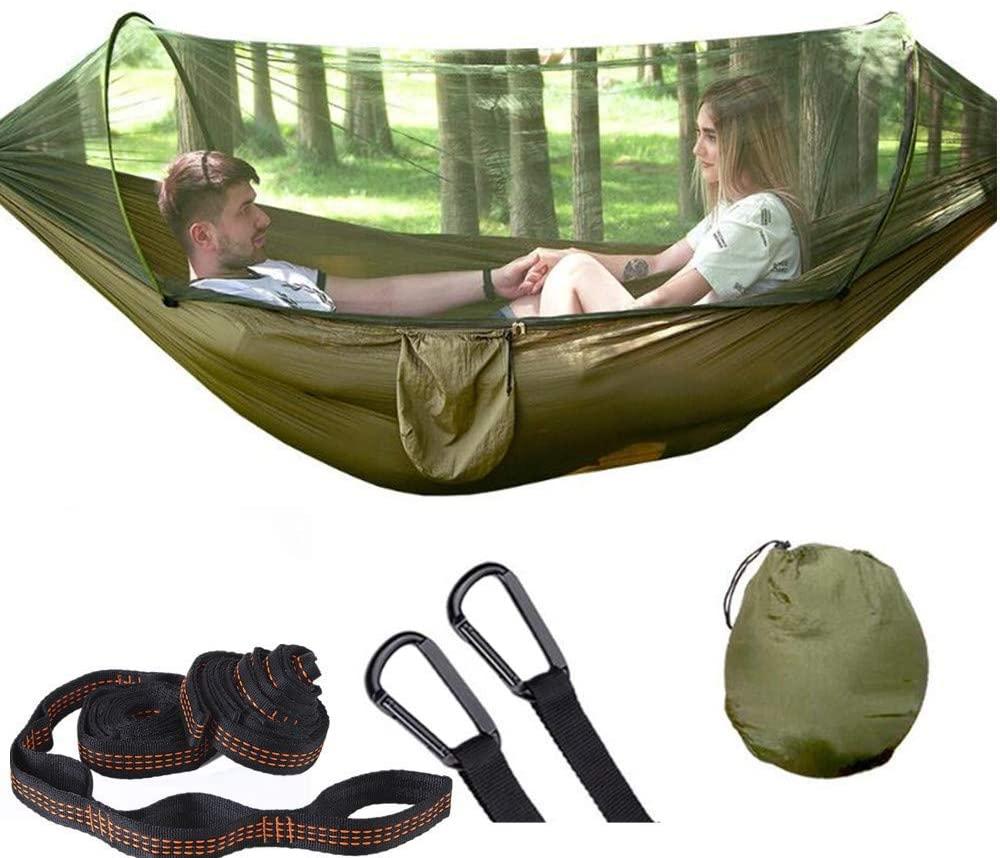 Camping Hammock with Mosquito Net Pop-Up Light Portable Outdoor Parachute Hammocks Swing Sleeping Hammock Camping Stuff