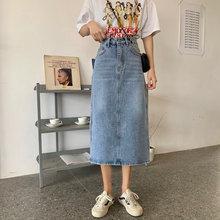 Женская джинсовая юбка zosol ретро средней длины с высокой талией