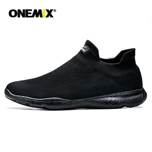 Image 1 - Onemix sapatos masculinos tênis esportivos 2019 nova meia sapatos malha respirável sapatos de caminhada formadores luz deslizamento sobre zapatillas hombre