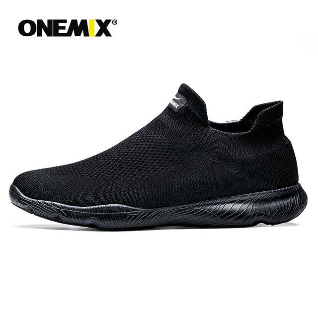 Onemix sapatos masculinos tênis esportivos 2019 nova meia sapatos malha respirável sapatos de caminhada formadores luz deslizamento sobre zapatillas hombre