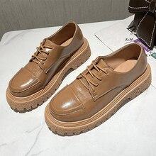 Shoes Loafers Women Oxfords Spring Vintage Black Lady Elegant Brown Autumn