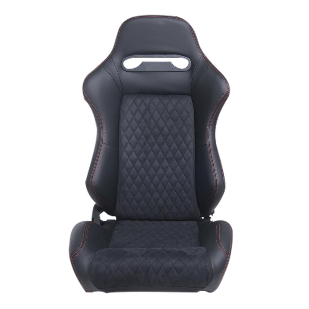 RED STITCH WOVEN FABRIC RECLINABLE SPORT ADJUSTER RACING SEAT DRIVER+PASSENGER