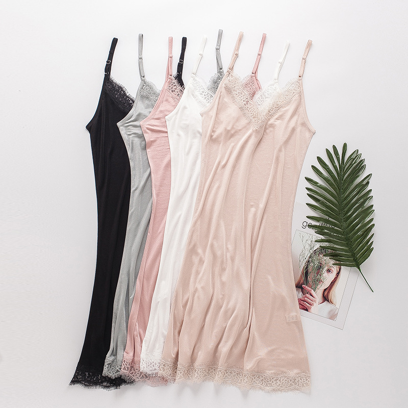 Spring And Summer Mulberry Silk Loose-Fit V-neck Lace-up Real Silk Slip Nightdress Sexy Pajamas Silk Base Eyelash Strapped Dress