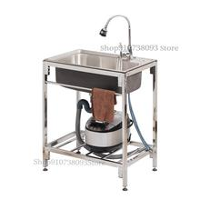 Washing-Basin Sink Kitchen Stainless-Steel with Suppor Simple-Dish Single-Tank Household