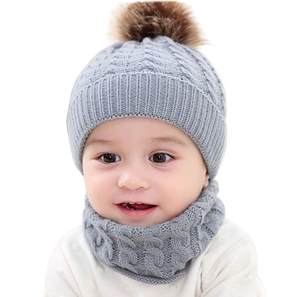 2 Pcs Baby Winter Warm Fur Ball Knitted Beanie Ear Protect Cap O Ring Scarf Set