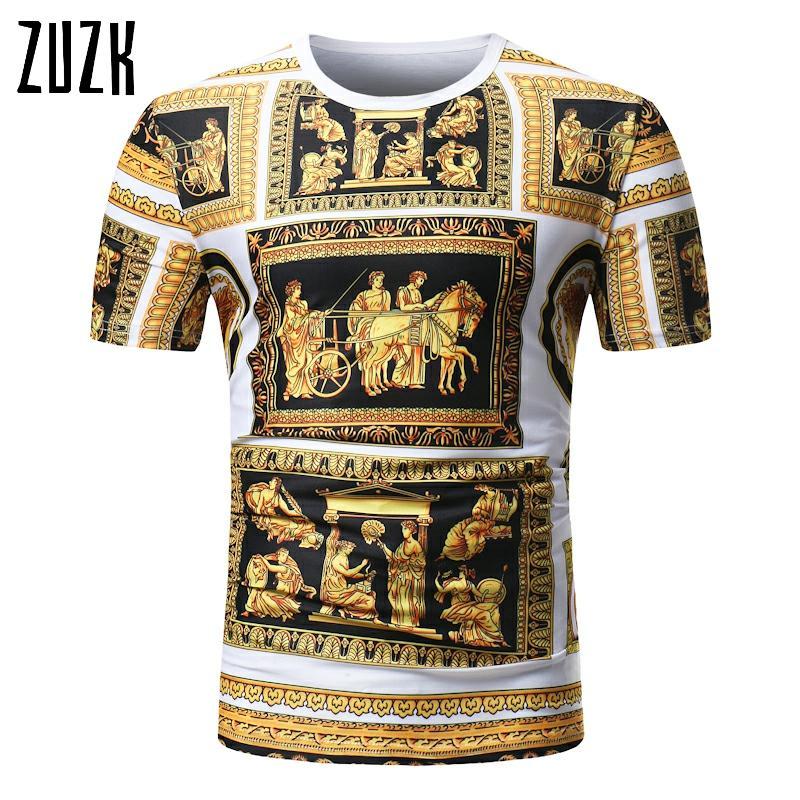 Футболка с коротким рукавом в римском стиле Повседневная модная