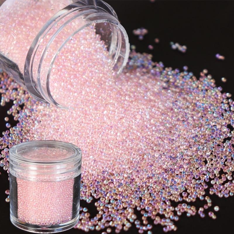 Nail Rhinestone Shiny Glass 3D Crystal Mini Small Beads AB Color DIY Stone Caviar Balls Nail Art Decorations Accessories RKBL(China)
