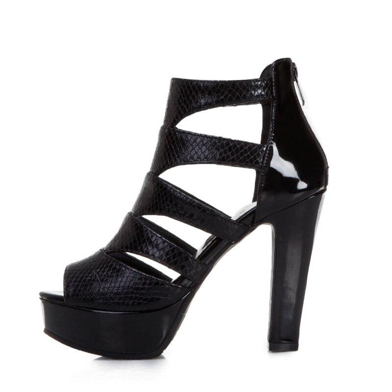 Donne In Pelle di Serpente Sandali Gladiatore Degli Alti Talloni Cinturino Alla Caviglia Stivali Delle Donne di Modo Peep Toe Scarpe Delle Signore di Estate Oro Nero Stivali