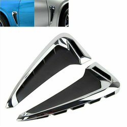 2x Car Side Fender Air wing Vent Trim Cover For BMW F15 X5 35I 2014 2015 2016 2017 2018 Chrome with M logo