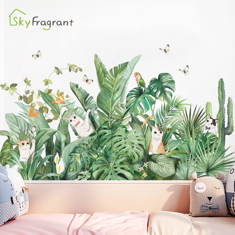 Creative Green Plant Wall Stickers Home Decor Decorations Living Room Bedroom Background Wall Decoration Self Adhesive Stickers
