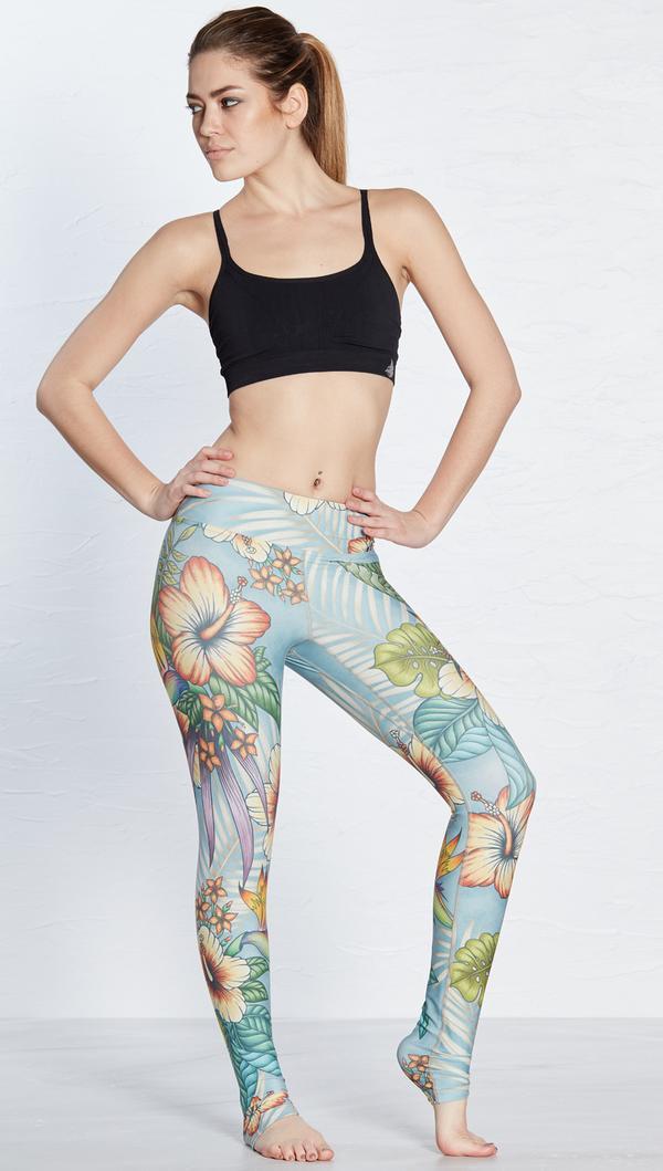 2019 Flower Skinny Hip-lifting Exercise Breathable Super-elastic Quick-drying Ladies' Nine-point  Pants Leggings