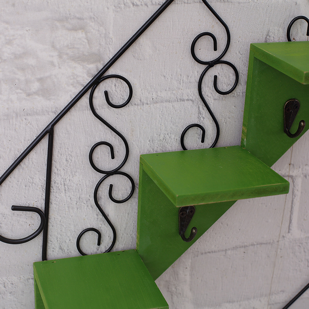 Staircase Decorated Wall Hanging Hook Shelf
