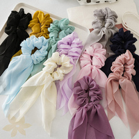Chiffon Bow Long Streamers Scrunchies Hair Ties Ponytail Holder Hair Accessories For Girls Women Double Layer Elastic Hair Bands