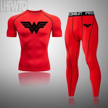 Wonder Woman Men's full Suit Compression Sport Suit Gym joggers Running Short sleeve Shirts leggings Basketball sportwear 11