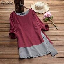 ZANZEA-Blusa informal de lino y algodón con manga larga para otoño, camisa Estilo Vintage para mujer, talla grande