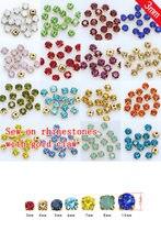 100p 3mm cor Sew em vidro de cristal Strass Diamante jóias de Prata Copo Garra Montees 4-buracos de Costura contas de pedra roupas artesanais