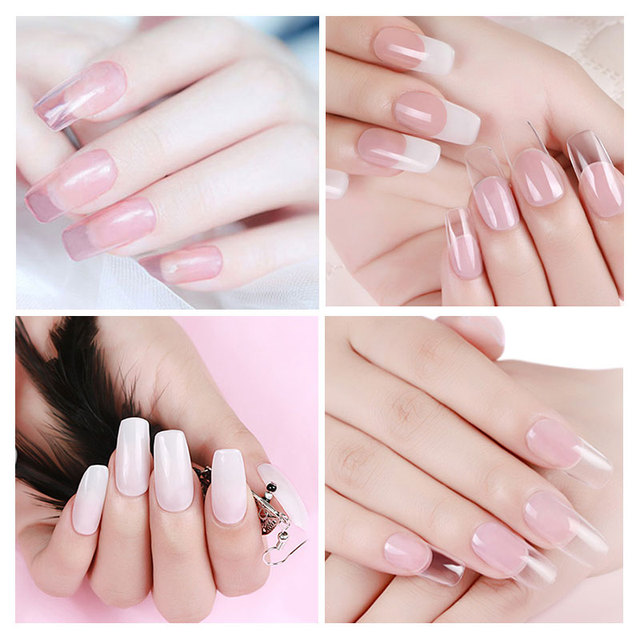 Polygel acrílico de uñas de gel de rosa claro, blanco de cristal LED UV Builder Gel consejos de mejora de solución rápida de Gel
