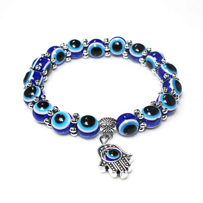 Venda de Prata Cor Azul Evil Eye Hamsa Mão de Fátima Palma Pulseiras para Mulheres Contas Cadeia de Jóias Vintage Presentes Femininos