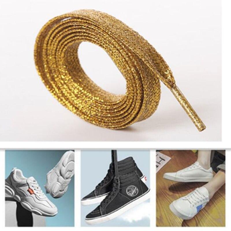 צבעוני גברים של גבירותיי סניקרס תחרה שרוכי מתכת מהבהב מבריק זהב תחרה כסף שטוח שרוכים ספורט נעלי ריצה נעל שרוכים