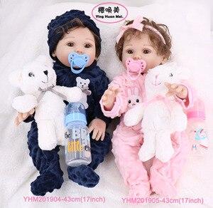 Child Reborn Full Silicone Reborn Full Silicone Body Baby Dolls Boy Girl Twin 43CM Vinyl Realistic Mini Baby Bath Toy waterproof(China)
