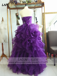 Image 3 - Sleeveless Ruffled Purple Organza Quinceanera Dresses Sparkling Quinceanera Gowns