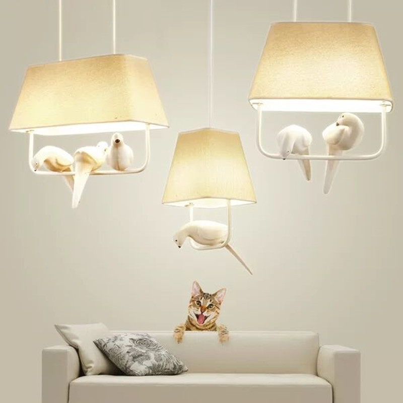 Nordic Simple Bird Pendant Lamp Personality Creative Led Pendant Lights Living Room Hanging Lights Study Room Lighting Fixture