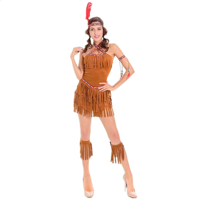 NATIVE RED INDIAN COSTUME BLACK OUTFIT POCAHONTAS FANCY DRESS SQUAW HALLOWEEN