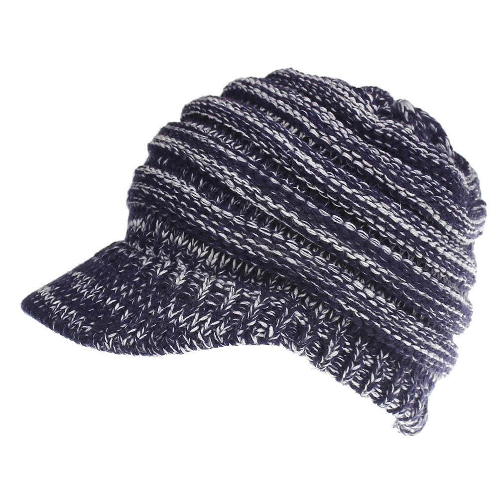 New Womens Knitted Baseball Hat Ladies Skullies Open Ponytail Beanie Messy Bun Cap Winter Hats for Men and Women Ski Sports Caps