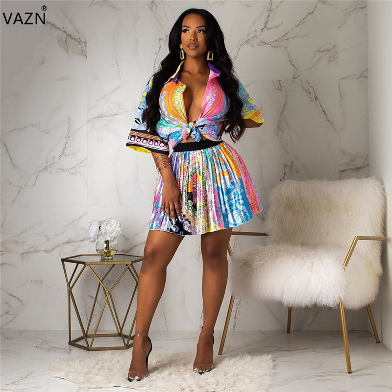 VAZN YC1828 new product 2019 summer pleated sexy lady colorful mini skirt skirt lady sexy club fashion slim skirt