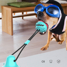 Silicon Suction Cup Pet Dog Toys Tug Push Ball Biting Toy Pet Toy Dogs Tooth Cleaning Toothbrush for Feed Food Puppy Dog Toy