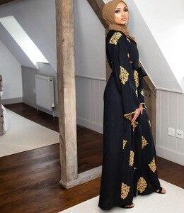 Image 4 - ドバイアラブオープンアバヤイスラム教徒ヒジャーブドレス女性着物レースアップローブドバイカフタン abayas イスラム服カフタン musulman marocain ロングローブ