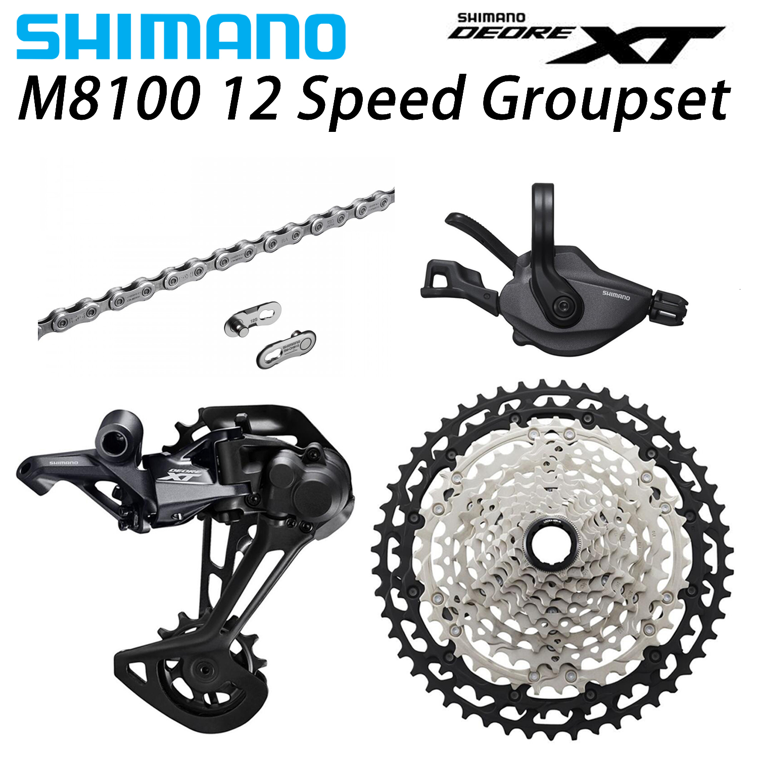 SHIMANO DEORE <font><b>XT</b></font> <font><b>M8100</b></font> Groupset MTB Mountain Bike 1x12-Speed 51T SL+RD+CS+HG <font><b>M8100</b></font> shifter Rear Derailleur image
