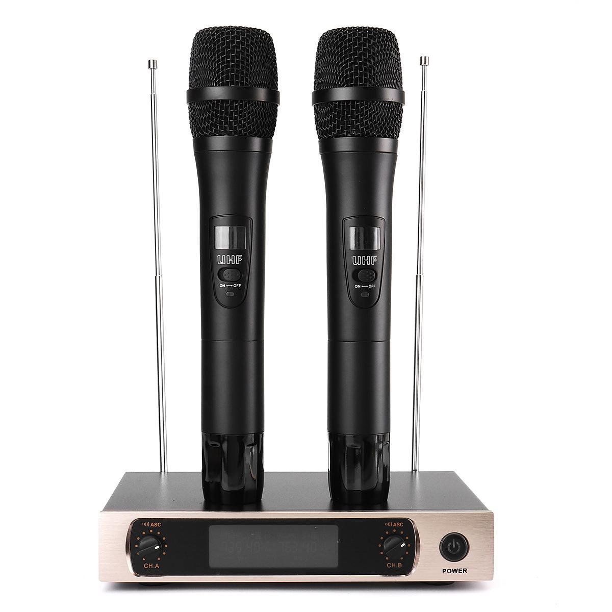 KINCO U26 220V UHF longue portée double canal 2 émetteur de micro portable karaoké professionnel système de Microphone sans fil UHF - 3