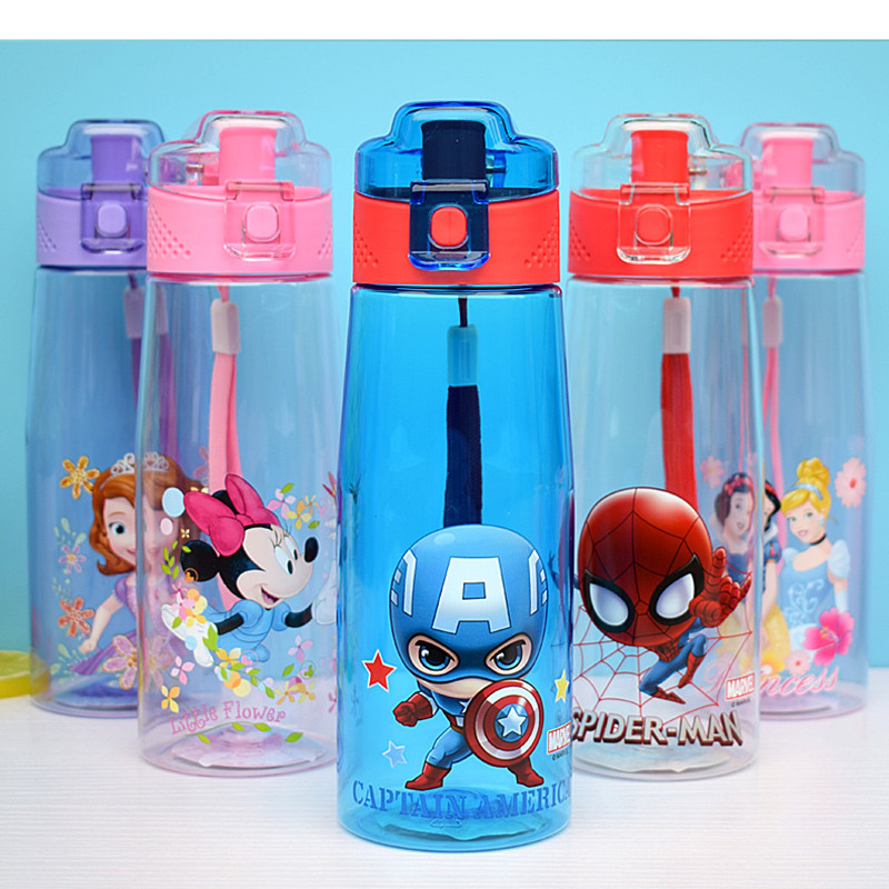 500ml Disney Mickey Mouse Cartoon Cup Cute Minnie Water Bottle  Spiderman Princess Bottles Portable Children Kettle  Leak Proof