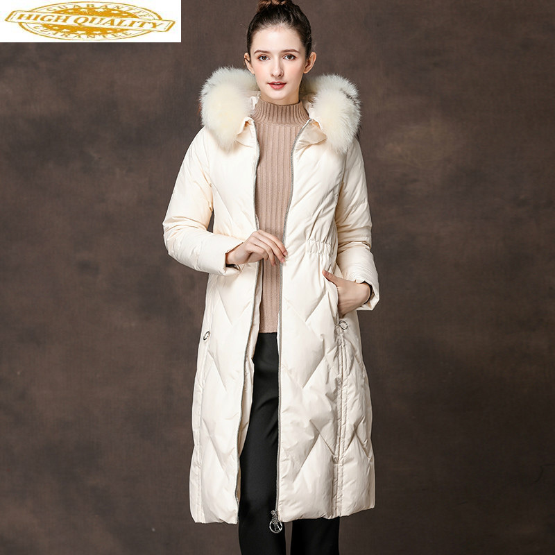 AYUSNUE Long White Duck Down Jacket Woman Hooded Winter Coat Women Raccoon Fur Collar Womens Coats Winter Jackets SMXL6065