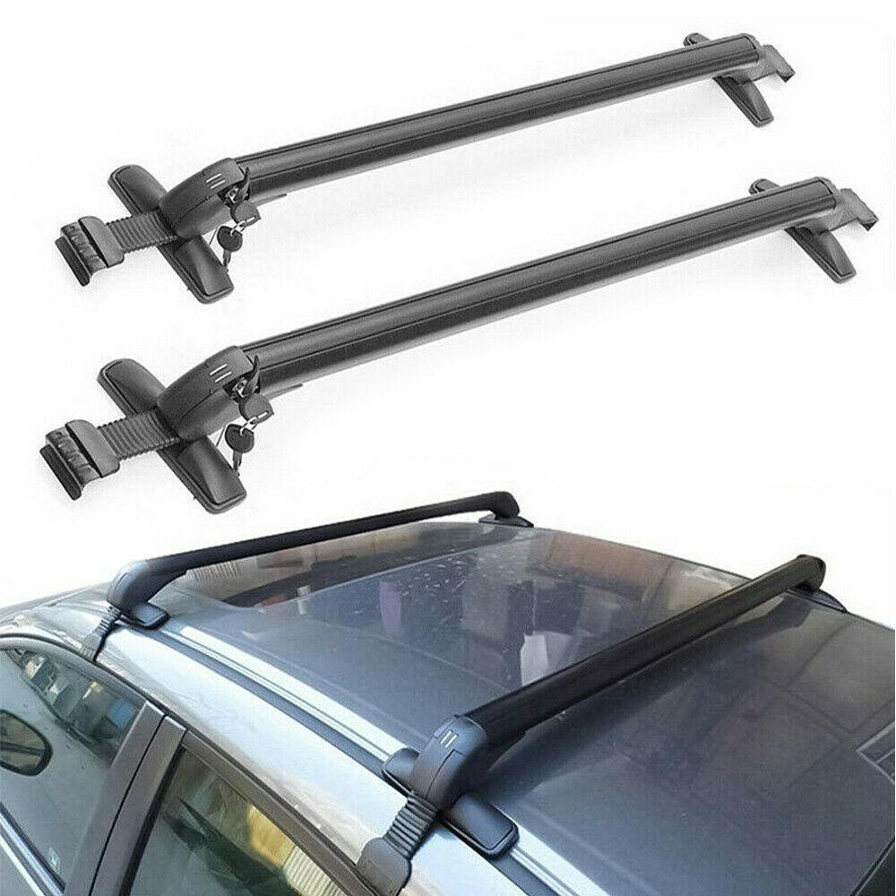 2PCS Universal Black Vehicle Car Roof Mounting Rack Rail Bar Aluminum Luggage Carrier with Lock Top Car Rack