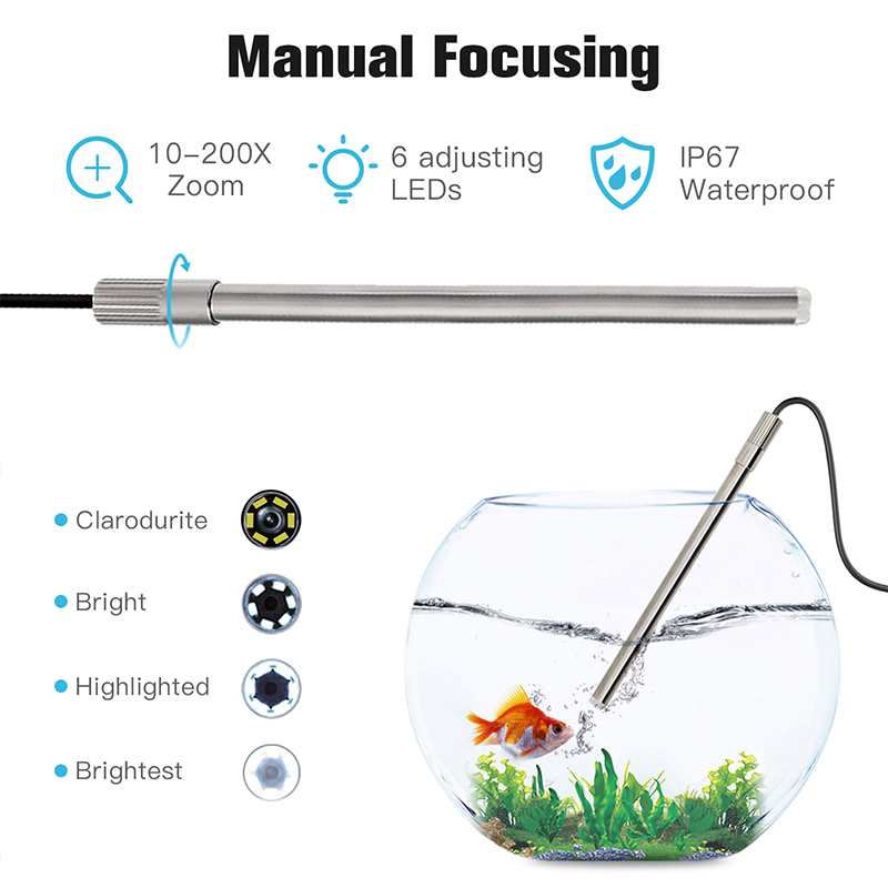 1 0 Digital 1080p IP67 USB 8 200X MAC Magnification Windows Android Microscope Endoscope Leds Stand 3 Magnifier 1  Camera In Mp