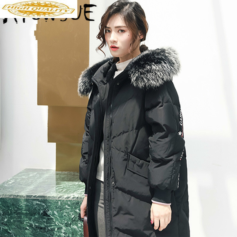 90% White Duck Down Jacket Women Puffer Jacket Raccoon Fur Collar Down Coat Winter Coat Women Parka Casacos 6837 YY1248