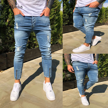 European and American Men Distressed ripped Jeans Zipper Leg opening  Denim Ankle-Length Pants Men clothing Blue Skinny Jeans star print hemming design distressed zipper fly straight leg jeans