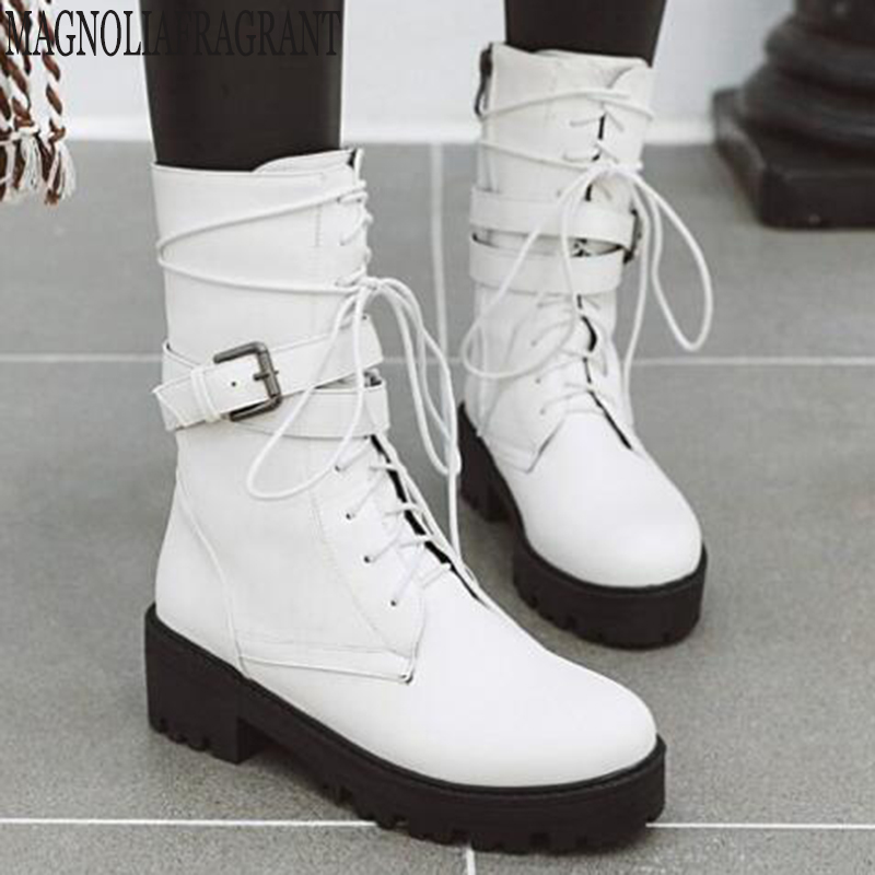 Spring Autumn Couple Boots Rivet In The Tube Women's Boots Belt Buckle Boots Round Head Large Size Boots SIZE : 34 46 y470