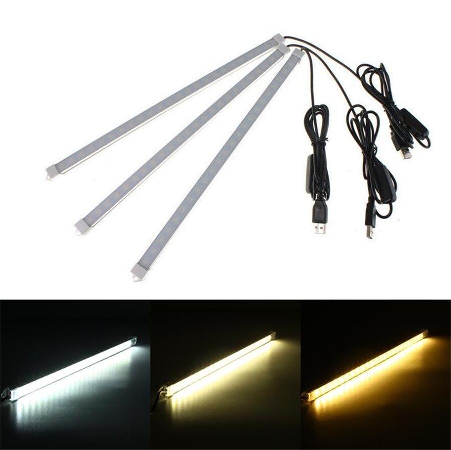 USB alimenté 10/20/35/40cm SMD 5630 barre de LED lumière en aluminium LED bande rigide lumières pour armoire placard étude lampe de lecture