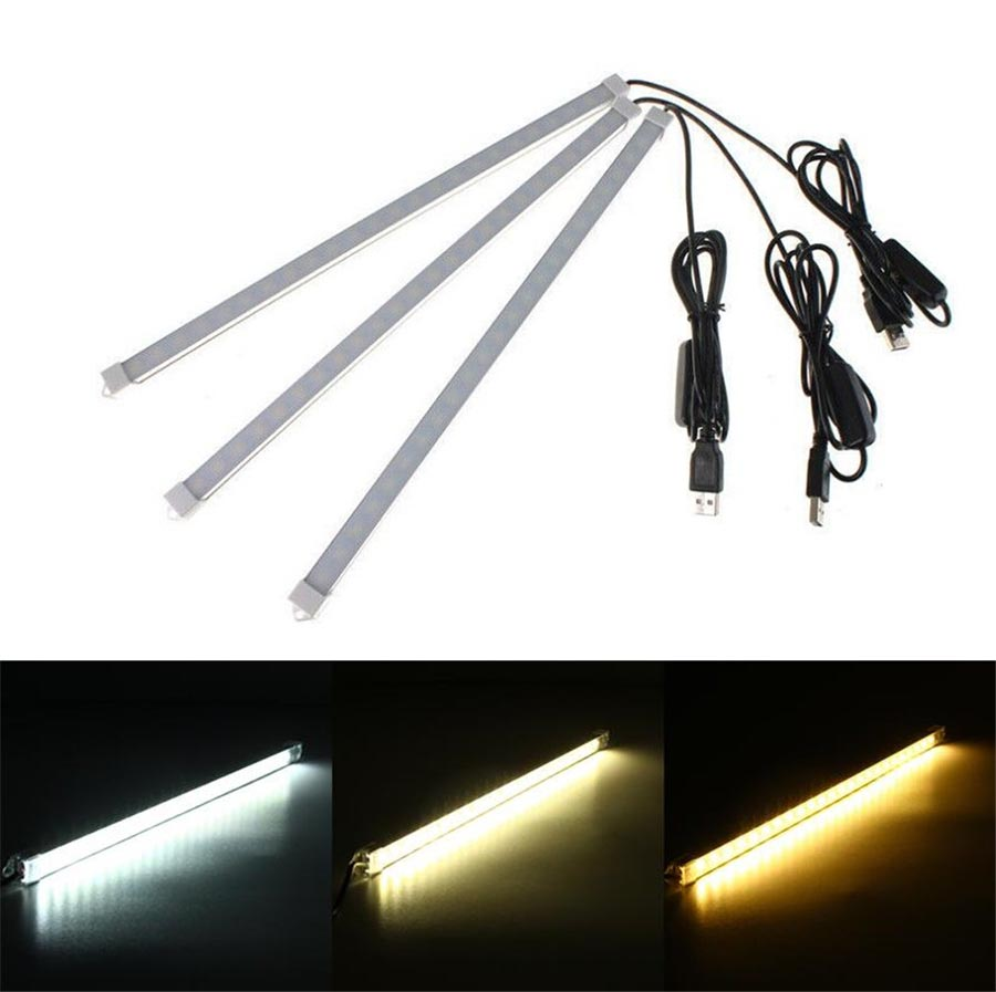 USB Powered 10/20/35/40cm SMD 5630 LED Bar Light Aluminum LED Rigid Strip lights For Cabinet Closet Study Reading Lamp