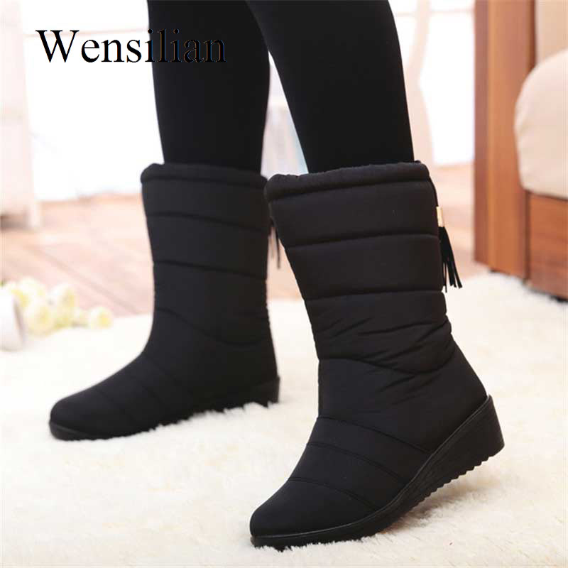 Winter Women Boots Mid Calf Down Boots High Bota Waterproof Ladies Snow Winter Shoes Woman Plush Insole Botas Mujer Invierno