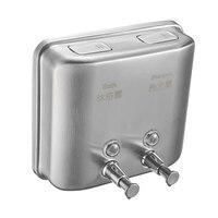 1500ml Kitchen Bathroom Hotel Liquid Soap Dispenser Wall Mounted Manual Stainless Steel Hand Sanitizer Shampoo Press Double Head