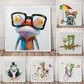 Настенный постер Happy Frog с очками, Милый Постер с мультяшным животным, картина маслом, Расписанная на холсте, современный декор для гостиной, ...