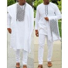 Keine kappe afrikanische kleidung männer dashiki vater sohn junge kinder anzüge tops hemd hose 3 stück set stickerei weiß afrikanischen herren kleidung
