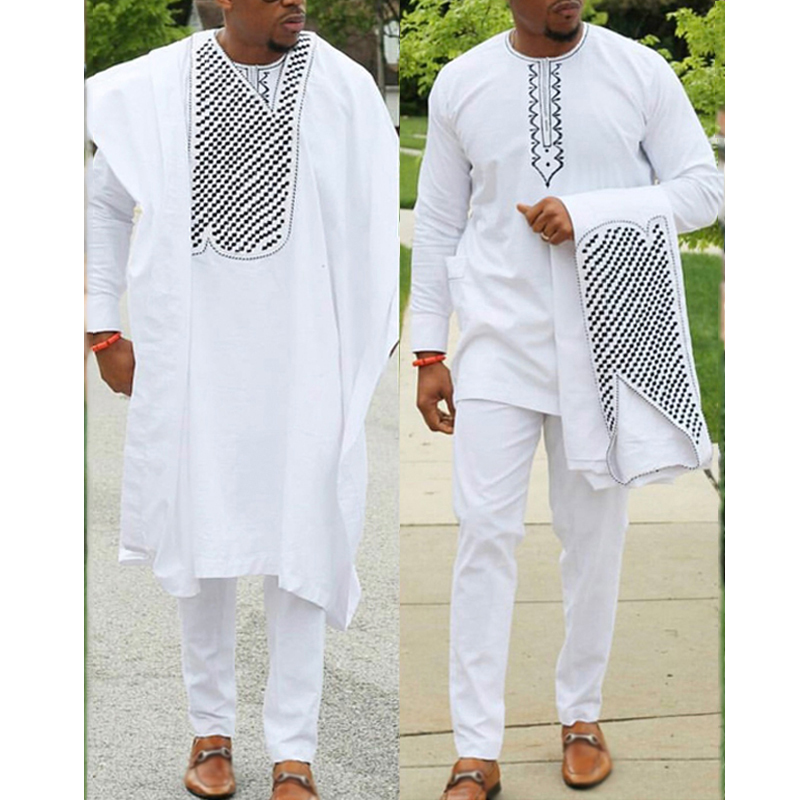 no cap african clothes men dashiki father son boy kids suits tops shirt pant 3 pieces set embroidery white african mens clothing(China)