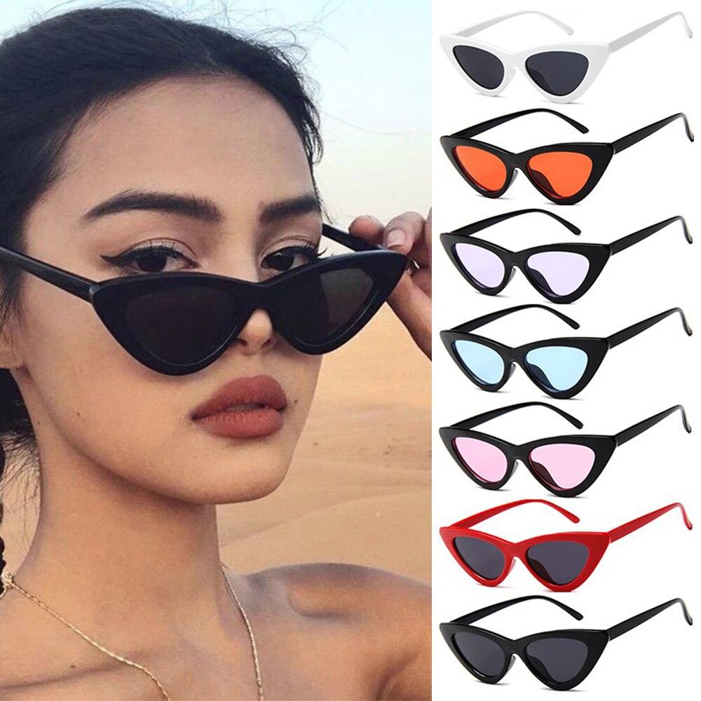 Sexy olho de gato óculos de sol feminino marca designer espelho preto triângulo óculos de sol feminino lente tons streetwear eyewear uv400