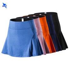 Saia de tecido antirreflexo, saia de tênis esportiva com secagem rápida e alça, para corrida, para verão, badminton, com bolso
