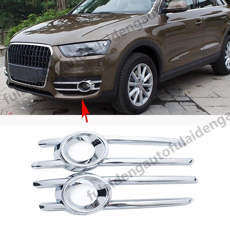 for Audi Q3 2012-2015 Chrome Front Fog Light Lamp Cover Trim Decoration 2pcs